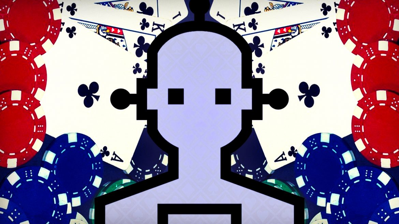 Gambar Robot Sederhana Dengan Latar Belakang Bertema Poker