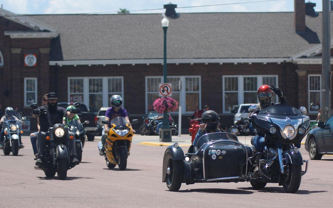 Motorcyclists leave The Depot at the beginning of the Veterans for Veterans Poker Run on Saturday in Mitchell. (Nick Sabato / Republic)