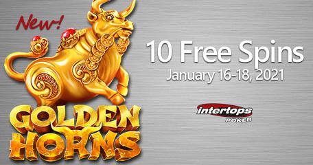 Intertops Poker menyoroti permainan slot Golden Horns dengan putaran ekstra