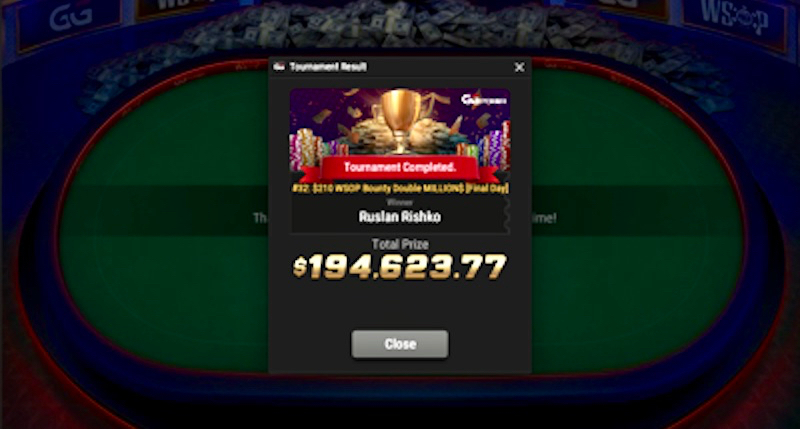 Ruslan Rishko Mengalahkan 14.162 Entry Field Untuk Memenangkan World Series of Poker Online Bounty Double JUTA $ Event